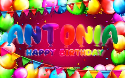 Happy Birthday Antonia, 4k, colorful balloon frame, Antonia name, purple background, Antonia Happy Birthday, Antonia Birthday, popular german female names, Birthday concept, Antonia
