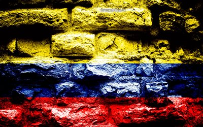 Colombia flag, grunge brick texture, Flag of Colombia, flag on brick wall, Colombia, Europe, flags of South American countries