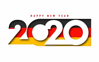 Germany 2020, Flag of Germany, white background, Happy New Year Germany, 3d art, 2020 concepts, Germany flag, 2020 New Year, 2020 Germany flag, German flag