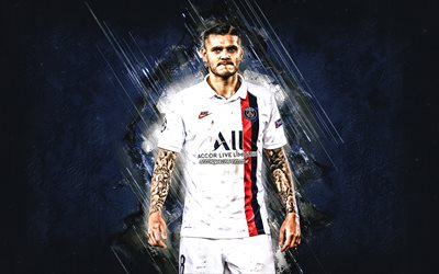 Mauro Icardi, Paris Saint-Germain, PSG, Argentinean soccer player, portrait, blue creative background, football