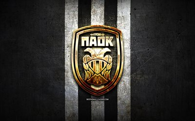 PAOK FC, golden logo, Super League Greece, black metal background, football, PAOK, greek football club, PAOK logo, soccer, Greece