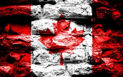 Canada flag, grunge brick texture, Flag of Canada, flag on brick wall, Canada, Europe, flags of North America countries, Canadian flag