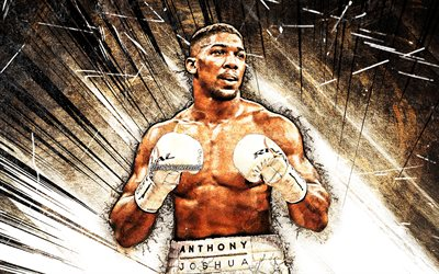 4k, Anthony Joshua, grunge art, british boxers, IBF, WBA, WBO, IBO, Anthony Oluwafemi Olaseni Joshua, brown abstract rays, boxers, Anthony Joshua 4K