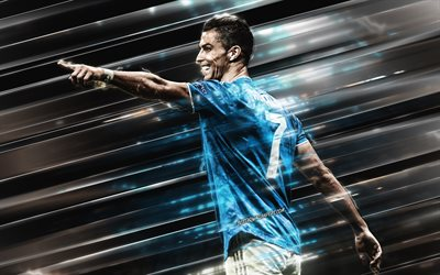 Cristiano Ronaldo, CR7, Juventus FC, portrait, blue Juventus uniform, Serie A, Italy, football, lines creative background