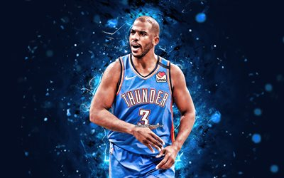 Chris Paul, 4k, Oklahoma City Thunder, 2020, NBA, red neon lights, basketball stars, Christopher Emmanuel Paul, OKC Thunder, basketball, USA, Chris Paul OKC Thunder, creative, Chris Paul 4K