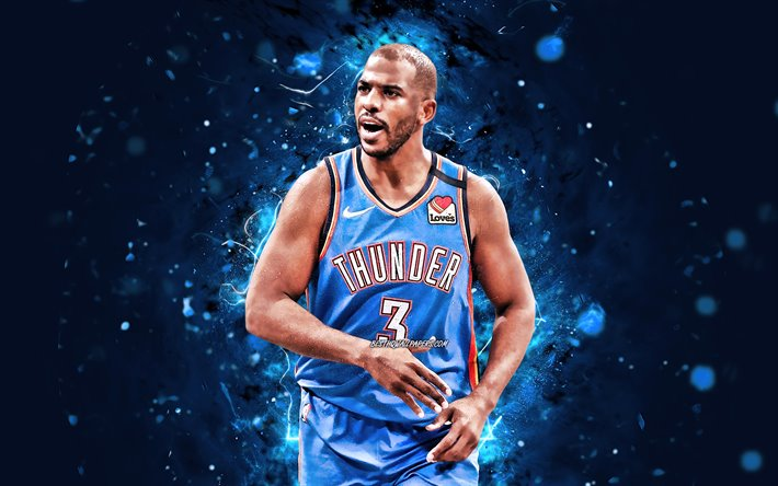 Chris Paul, 4k, Oklahoma City Thunder, 2020, NBA, rosso, neon, luci, stelle di basket, Christopher Emanuele Paolo, OKC Thunder, basket, USA, Chris Paul OKC Thunder, creativo, Chris Paul 4K