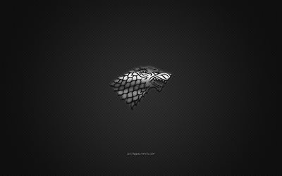 House Stark, Game Of Thrones, gray carbon background, House Stark logo, carbon fiber texture, House Stark emblem, House Stark metal sign