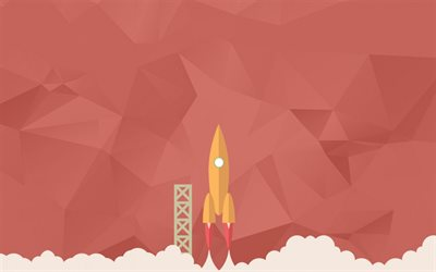 startup concept, vector rocket, polygon red background, rocket taking off, business concepts, startup
