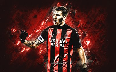 Alessio Romagnoli, AC Milan, Italian football player, portrait, red stone background, football, Serie A, Italy