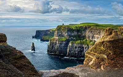 Cliffs of Moher, 4k, ocean, coast, cliffs, Ireland, beautiful nature, summer, United Kingdom, Europe