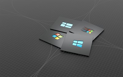 Windows 10 logo, 4k, 3D art, minimalism, creative, Windows 10, gray abstract background, Windows 10 3D logo