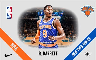 RJ Barrett, New York Knicks, joueur de basket-ball canadien, NBA, portrait, USA, basket-ball, Madison Square Garden, logo des New York Knicks
