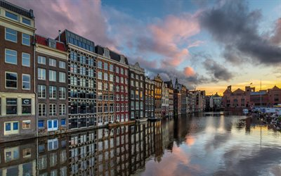 Amsterdam, De Wallen, evening, sunset, canal, Amsterdam cityscape, Netherlands