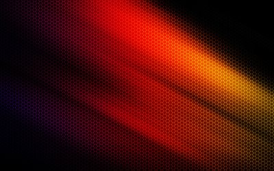 multicolored honeycomb background, red honeycomb background, Black background, honeycomb abstractions, red polygon background