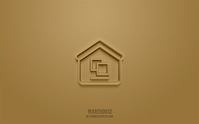 Warehouse 3d icon, brown background, 3d symbols, Warehouse, Delivery icons, 3d icons, Warehouse sign, Delivery 3d icons
