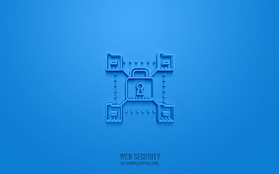 Web security 3d icon, blue background, 3d symbols, Web security, Network icons, 3d icons, Web security sign, Network 3d icons