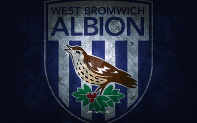West Bromwich Albion FC, clube de futebol inglês, fundo de pedra azul, logotipo do West Bromwich Albion FC, arte do grunge, Premier League, futebol, Inglaterra, emblema do West Bromwich Albion FC