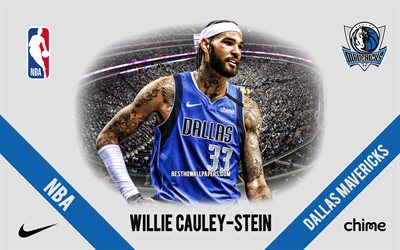 Willie Cauley-Stein, Dallas Mavericks, joueur de basket-ball américain, NBA, portrait, USA, basket-ball, American Airlines Center, logo des Dallas Mavericks