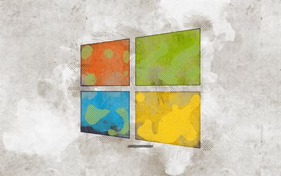 Windows 10 logo, grunge art, Windows 10, Windows logo, creative grunge background, Windows grunge logo