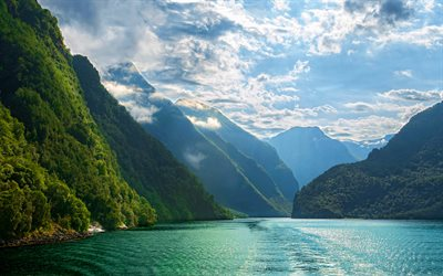 Norway, 4k, summer, fjord, mountains, Europe, beautiful nature, sunny day, HDR
