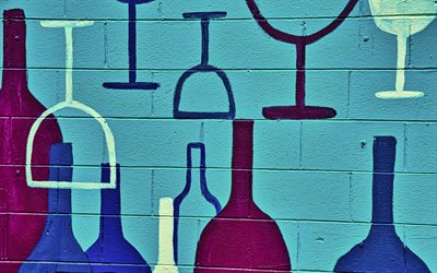 background with glasses, grunge glasses background, drinks background, blue wall background, wine background, wine art