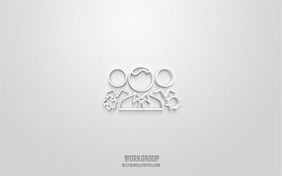 Workgroup 3d icon, white background, 3d symbols, Workgroup, Network icons, 3d icons, Workgroup sign, Network 3d icons
