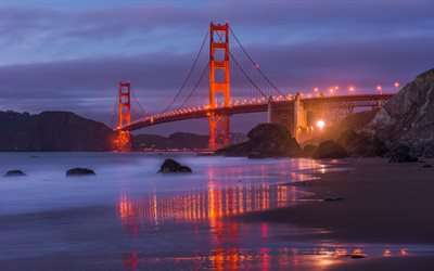 Golden Gate Bridge, San Francisco, soirée, coucher de soleil, monument, Californie, USA