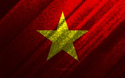 Flag of Vietnam, multicolored abstraction, Vietnam mosaic flag, Vietnam, mosaic art, Vietnam flag