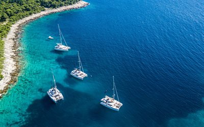 Adriatic sea, coast, yachts, sailboats, beautiful sea, summer, Croatia