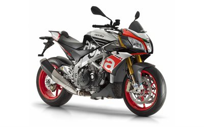 Aprilia Tuono V4 Factory 1100, 2021, front view, exterior, gray sport bike, new gray Tuono V4 Factory, racing motorcycles, Aprilia