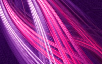 purple abstract rays, 4k, purple waves, creative, 3D waves, neon rays, purple lines