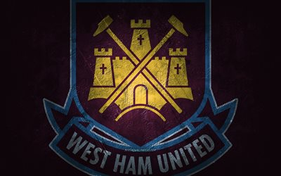 West Ham United FC, clube de futebol inglês, fundo de pedra roxa, logotipo do West Ham United FC, arte grunge, Premier League, futebol, Inglaterra, emblema do West Ham United FC