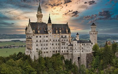 Neuschwanstein Castle, Hohenschwangau, beautiful castle, Bavaria, castles of Germany, Lenmark, Germany, Neuschwanstein