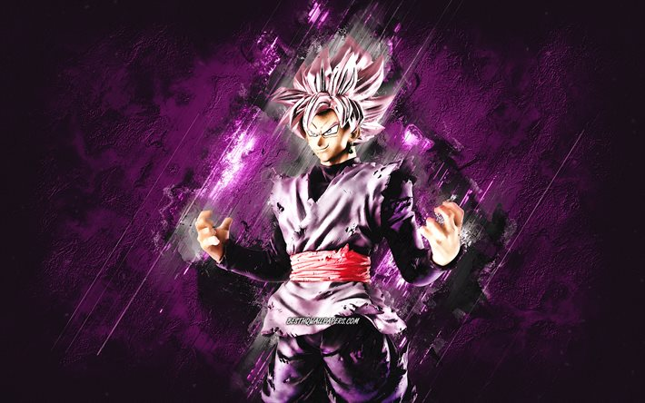Black Goku, Dragon Ball, retrato, fondo de piedra púrpura, personajes de Dragon Ball, personajes de anime, manga japonés, Dragon Ball Super, Goku Black