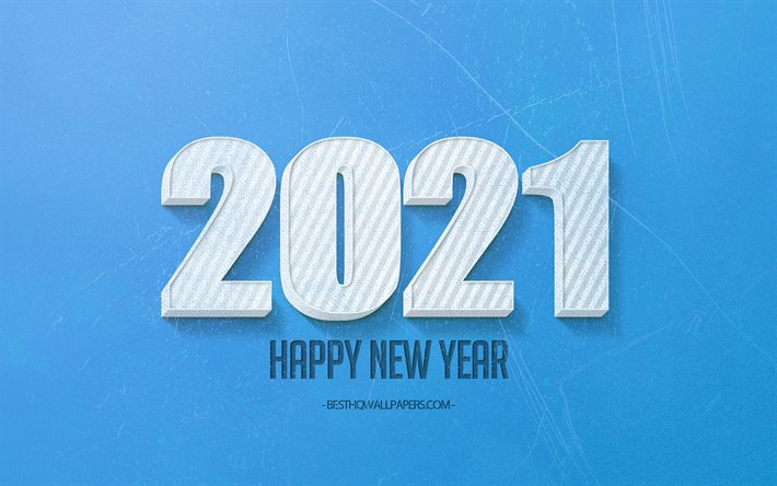 2021 New Year, 2021 blue background, 2021 concepts, 2021 white 3d letters, 2021 blue retro background