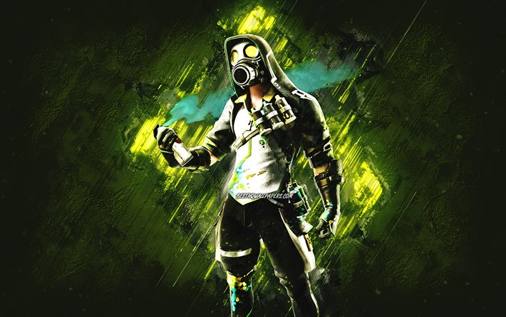 Fortnite Toxic Tagger Skin, Fortnite, main characters, green stone background, Toxic Tagger, Fortnite skins, Toxic Tagger Skin, Toxic Tagger Fortnite, Fortnite characters