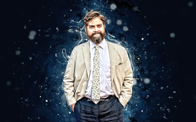 Zach Galifianakis, 4k, american actor, movie stars, american celebrity, Zachary Knight Galifianakis, blue neon lights, Zach Galifianakis 4K