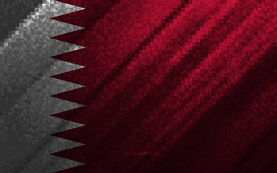 Flag of Qatar, multicolored abstraction, Qatar mosaic flag, Qatar, mosaic art, Qatar flag