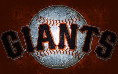 Giants de San Francisco, équipe de baseball américaine, fond de pierre orange, logo des Giants de San Francisco, art grunge, MLB, baseball, USA, emblème des Giants de San Francisco
