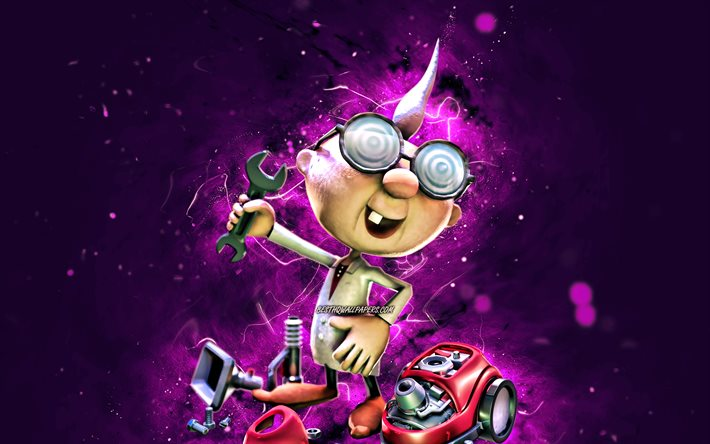 Professor Elvin Gadd, 4k, cartoon professor, purple neon lights, Super Mario, creative, Super Mario characters, Super Mario Bros, Professor Elvin Gadd Super Mario