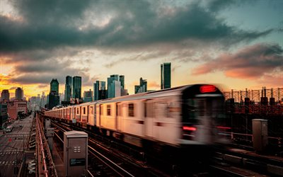 New York, evening, sunset, New York subway, subway train, skyscrapers, modern buildings, USA