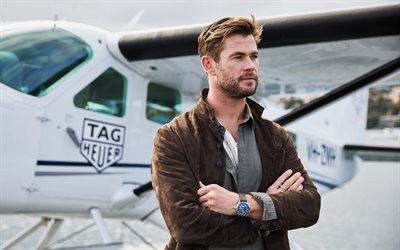 Chris Hemsworth, acteur australien, star hollywoodienne, portrait, TAG Heuer, séance photo, acteurs populaires