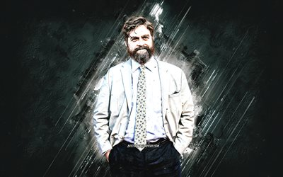 Zach Galifianakis, American Actor, Portrait, Gray Stone Background, Popular Actors