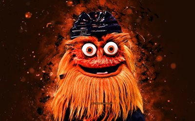 Gritty, 4k, mascotte, Philadelphia Flyers, néons orange, LNH, créatif, USA, mascotte des Philadelphia Flyers, mascottes NHL, Gritty Philadelphia Flyers, mascotte officielle, mascotte Gritty