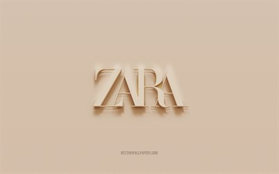 Zara logo, brown plaster background, Zara 3d logo, brands, Zara emblem, 3d art, Zara