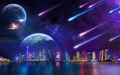 skyline cityscapes, 4k, fantasy art, comets, skyscrapers, nightscapes, planets
