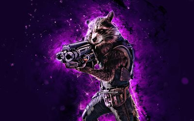 Rocket Raccoon, 4k, violet neon lights, Marvel Comics, superheroes, creative