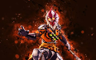 Wukong, 4k, orange neon lights, 2021 games, Free Fire Battlegrounds, Garena Free Fire characters, Wukong Skin, Garena Free Fire, Wukong Free Fire