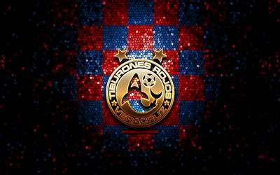 Veracruz FC, glitter logo, Liga MX, red blue checkered background, soccer, mexican football club, Veracruz logo, mosaic art, football, Club Deportivo Veracruz