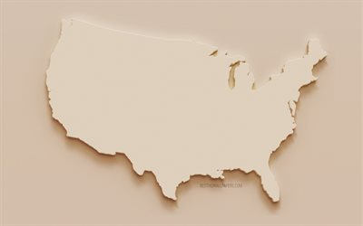 USA map, 3d silhouette of USA map, plaster map of USA, brown stone background, USA plaster map, USA, North America